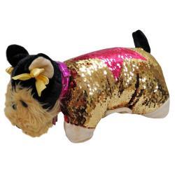Cojin peluche lentejuelas Yorkshire Doggie Star - Imagen 1