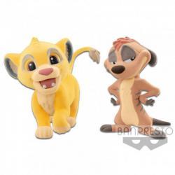 Set figuras Simba & Timon El Rey Leon Disney Fluffy Q Posket - Imagen 1