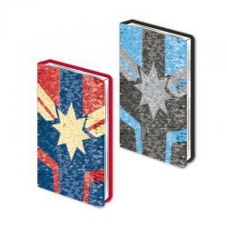 Cuaderno A5 premium lentejuelas Capitana Marvel - Imagen 1