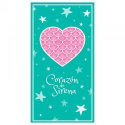 Toalla Corazon De Sirena microfibra - Imagen 1