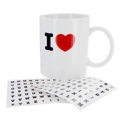 Taza desayuno I Love + letras - Imagen 1