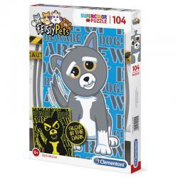 Puzzle Fluorescent Dog Feisty Pets 104pzs - Imagen 1