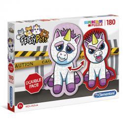 Puzzle Shaped Double Face Feisty Pets Unicorn 180pzs - Imagen 1