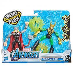 Set 2 figuras Bend and Flex Thor vs Loki Marvel 15cm - Imagen 1