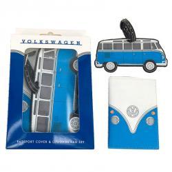 Set portapasaporte y etiqueta de equipaje Caravana Volkswagen VW Azul - Imagen 1