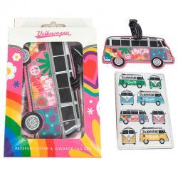 Set portapasaporte y etiqueta de equipaje Amor Caravana Volkswagen VW - Imagen 1