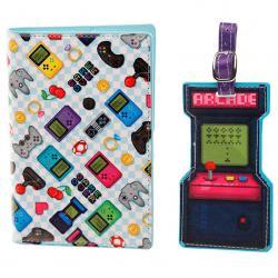 Set portapasaporte y etiqueta de equipaje Game Over - Imagen 1