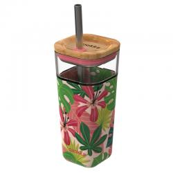 Vaso cristal Liquid Cube Pink Jungle Quokka 540ml - Imagen 1
