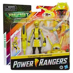 Set 2 figuras Yellow Ranger and Morphin Jax Beastbot Power Rangers 15cm - Imagen 1