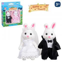 Conejo Novios Flocado Happy Family 2/Sut.8cm. - Imagen 1