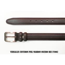Cinturon De Piel Marron Oscuro Versalles 3.5cm - Imagen 1
