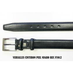Cinturon De Piel Negro Versalles 3.5cm - Imagen 1
