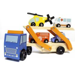 Camion Transporte Madera + 4 Vehiculos De Madera - Imagen 1