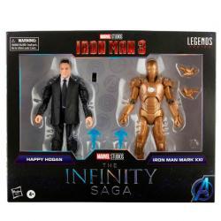 Set 2 figuras Happy Hogan and Iron Man Mark XXI Iron Man 3 The Infinity Saga Marvel 15cm - Imagen 1