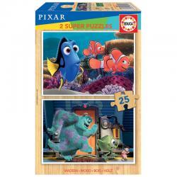 Puzzle Buscando a Nemo + Monstruos S.A Disney Pixar madera 2x25pzs - Imagen 1