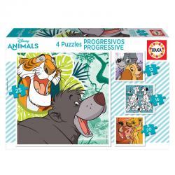 Puzzle Dama y Vagabundo + 101 Dalmatas + Rey Leon + Libro de la Selva Animals Disney 12-16-20-25pzs - Imagen 1