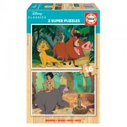 Puzzle El Rey Leon + El Libro de la Selva Classics Disney madera 2x16pcs - Imagen 1