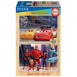 Puzzle Cars + Los Increibles Disney Pixar madera 2x50pzs - Imagen 1