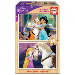Puzzle Jasmine + Rapunzel Princess Disney madera 2x16pcs - Imagen 1