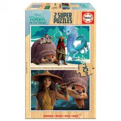 Puzzle Raya y el Ultimo Dragon Disney madera 2x25pzs - Imagen 1
