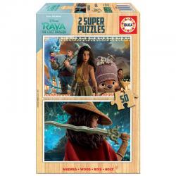 Puzzle Raya y el Ultimo Dragon Disney madera 2x50pzs - Imagen 1