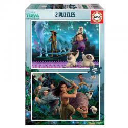 Puzzle Raya y El Ultimo Dragon Disney 2x100pzs - Imagen 1