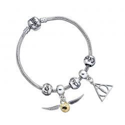 Harry Potter Brazalete Charm Set Deathly Hallows/Snitch/3 Spell Beads (plateado) - Imagen 1