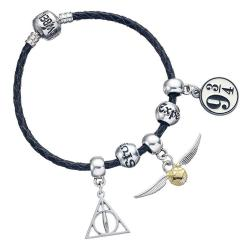 Harry Potter Brazalete de cuero Charm Set Deathly Hallows/Snitch/Platform 9 3/4/2 Spellbeads - Imagen 1