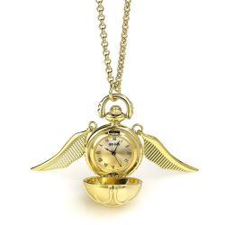 Harry Potter Collar con reloj Snitch dorada (chapado en oro) - Imagen 1