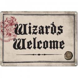 Harry Potter Placa de Chapa Wizards Welcome 21 x 15 cm - Imagen 1