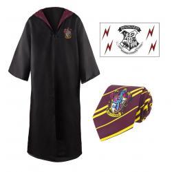 Harry Potter  Set de Vestido de Mago, Corbata & Tattoo Gryffindor talla M - Imagen 1