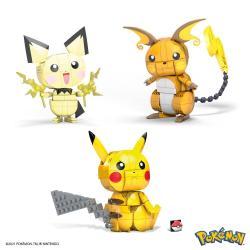 Pokémon Kit de Construcción Mega Construx Wonder Builders Pikachu Evolution Trio 13 cm - Imagen 1