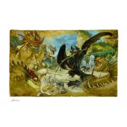 Cómo entrenar a tu dragón Litografia Ecto-1 46 x 61 cm - enmarcado - Imagen 1