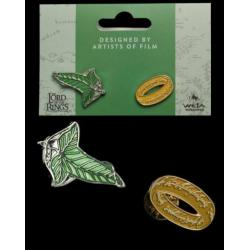 El Señor de los Anillos Pack de 2 Pins Elfen Leaf & One Ring - Imagen 1