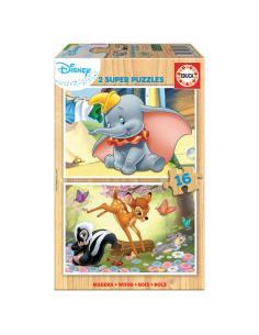 Puzzle Dumbo + Bambi Animals Disney 2x16pzs - Imagen 1