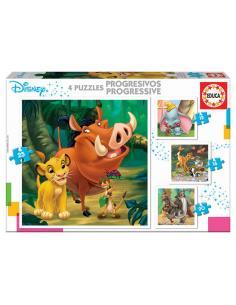 Puzzle Progresivo Dumbo + Bambi + El Rey Leon + El Libro de la Selva Animals Disney 12-16-20-25pzs - Imagen 1