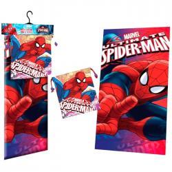 Toalla microfibra + saco merienda Spiderman Marvel Face - Imagen 1