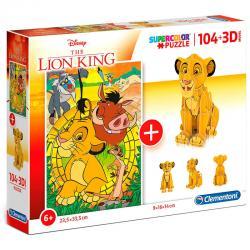 Puzzle 104 + 3D Rey Leon Disney 104pzs - Imagen 1