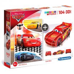 Puzzle 104 + 3D Cars Disney 104pzs - Imagen 1