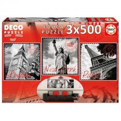 Puzzle Deco Grandes Ciudades 3x500pz - Imagen 1