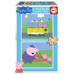 Puzzle Peppa Pig madera 2x9pz - Imagen 1
