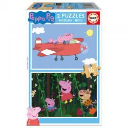 Puzzle Peppa Pig madera 2x16pz - Imagen 1