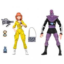 Set 2 figuras articuladas April O Neil y Foot Soldier Tortugas Ninja 18cm - Imagen 1
