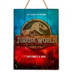 Cartel madera Woodart 3D Print Jurassic World - Imagen 1